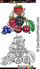owoce, koloryt książka, rysunek, jagoda