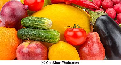 owoce, komplet, tło, ziele, warzywa