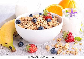 owoce, mleczny, skład, zboże
