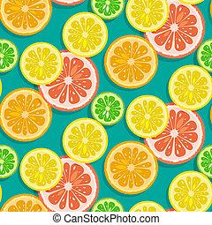 owoce, orange), seamless, tło, cytryna, wapno, (grapefruit, wektor, cytrus