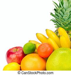 owoce, tło., odizolowany, zdrowy, biały, jadło.