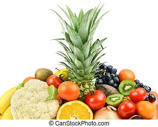 owoce, tło, warzywa, biały