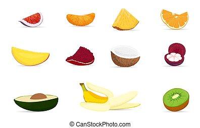 owoce, tropikalny, egzotyczny, set.