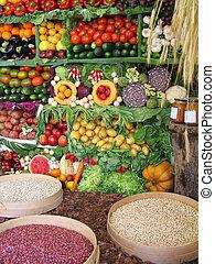 owoce, warzywa, barwny, fasola