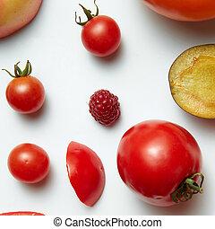 owoce, warzywa, komplet, jagody
