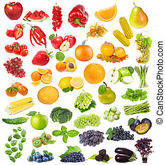 owoce, zioła, komplet, jagody