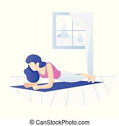 owocnia, kobieta, exercise., atak, strata, weight., młody, trening, deska