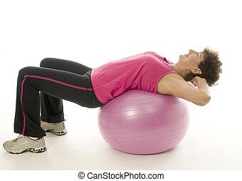 owocnia, trening, kobieta, wykonując, piłka, stosowność