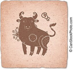 Ox. Chinese Zodiac Sign Horoscope Vintage Card.