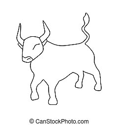 Ox vector icon illustration isolated on white background. Bull hand drawn logo