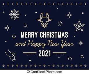 Flat vector illustration of a merry christmas and happy new year greeting. Postcard with an ox surrounded with winter decorations