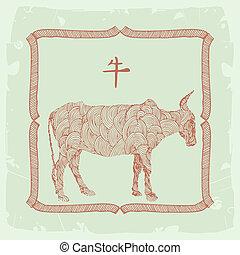 ox-, zodiac, chinees, meldingsbord