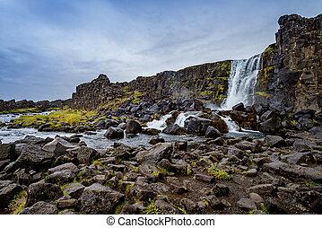oxarafoss, inthingvellir, nationalpark, in, island