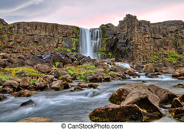 oxararfoss, 瀑布, 在中, hdr, 冰岛