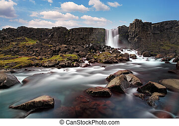 Oxararfoss waterfall in Thingvellir, Iceland