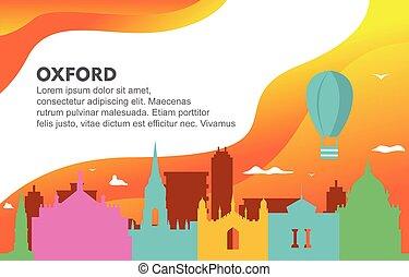 Oxford City Building Cityscape Skyline Dynamic Background Illustration