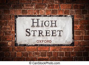 oxford, hoch, straßenschild