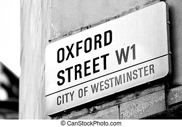 Oxford street sign in London England UK - LONDON, UK - MAY...