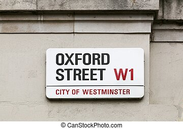 Oxford street sign on a wall in London, United Kingdom