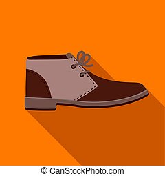 Oxfords icon in flat style isolated on white background. Shoes symbol stock vector illustration.