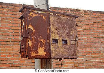 oxidación, caja, oxidación, metro