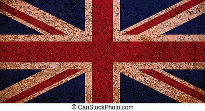 oxidado, bandera, gran bretaña