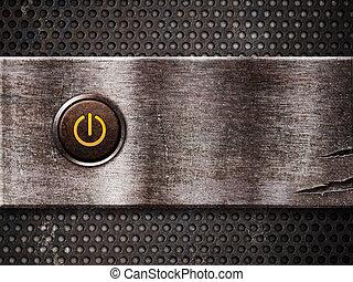 oxidado, botón de la energía, en
