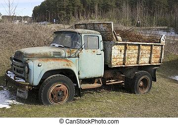 oxidado, olvidado, camión