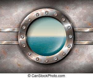 oxidado, portilla, con, vista marina