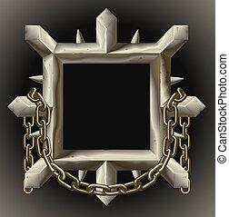 oxidado, puntiagudo, metal, marco, frontera, con, cadena
