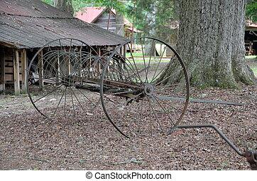 oxidado, viejo, equipo de granja