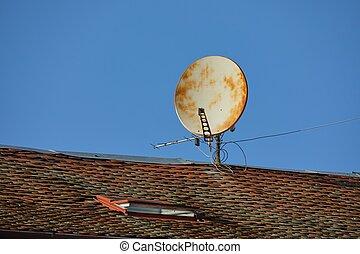 oxidado, viejo, parábola, receptor