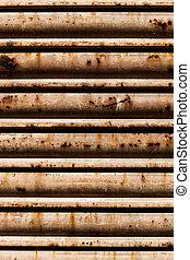 Oxidated metal blind background.