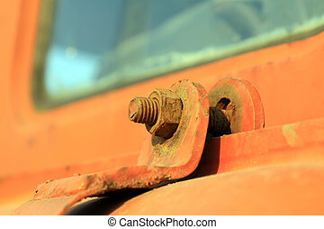 Oxidation of rusty metal fasteners, closeup of photo