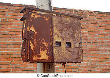 oxidation rust meter box in rural China