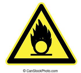 oxidising, żółty, ostrzeżenie triangel
