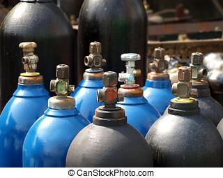 oxigênio, e, gás, cilindros