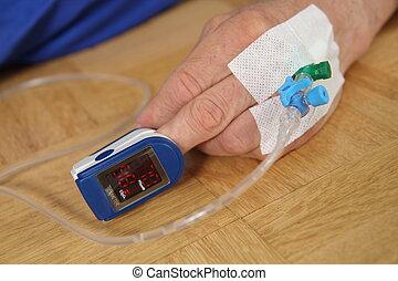 oximetry, paciente, pulso, mano