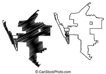 Oxnard City (United States cities, United States of America, usa city) map vector illustration, scribble sketch Oxnard map