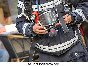 oxygène, pompier, masque, essence, tenue, ou