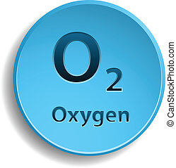 Oxygen - Blue button with oxygen. eps10