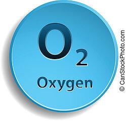 Oxygen - Blue button with oxygen. eps10