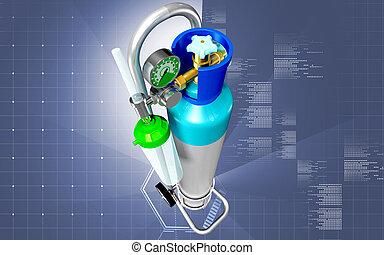 Oxygen Cylinder - Digital illustration of oxygen cylinder in...
