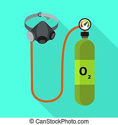 Oxygen cylinder icon, flat style