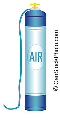 Oxygen cylinder - Illustration of an oxygen cylinder with a...