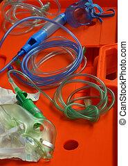 oxygen mask - emergency medical oxygen  mask and tubing