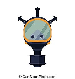 Oxygen Mask, Fire Fighting Equipment Flat Style Vector Illustration on White Background