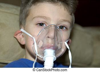 Oxygen Mask - Child Wearing a Oxygen Mask