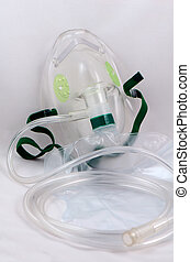 Oxygen mask with bag.