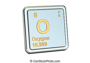 Oxygen, O chemical element sign. 3D rendering